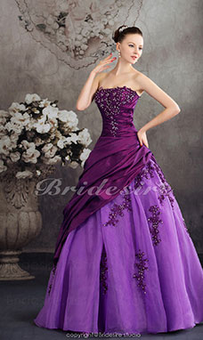 Ball Gown Strapless Floor-length Sleeveless Taffeta Organza Dress