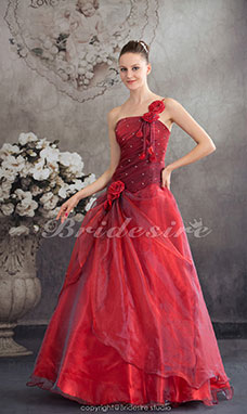 Ball Gown One Shoulder Floor-length Sleeveless Organza Wedding Dress