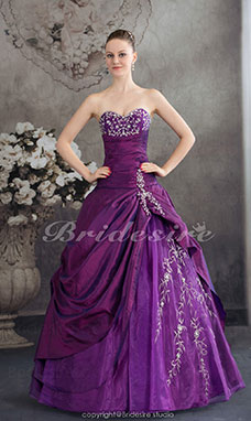 Ball Gown Sweetheart Floor-length Sleeveless Taffeta Organza Dress