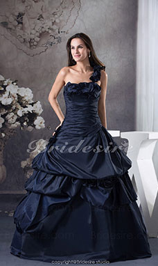 Ball Gown One Shoulder Floor-length Sleeveless Taffeta Dress