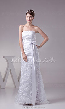 Sheath/Column Strapless Sweep Train Sleeveless Lace Wedding Dress
