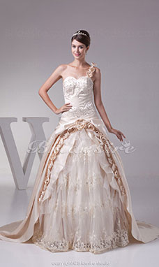 Ball Gown One Shoulder Court Train Sleeveless Satin Lace Wedding Dress