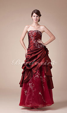 A-line Strapless Floor-length Sleeveless Taffeta Organza Dress