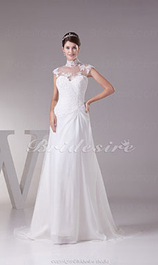 A-line High Neck Sweep Train Sleeveless Chiffon Wedding Dress