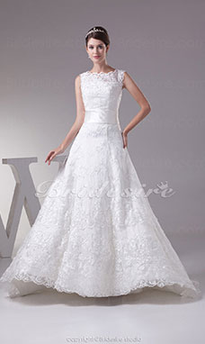 A-line Bateau Sweep Train Sleeveless Lace Wedding Dress