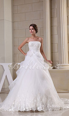 Ball Gown Strapless Chapel Train Sleeveless Organza Lace Wedding Dress