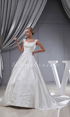 Ball Gown Straps Chapel Train Sleeveless Satin Wedding Dress
