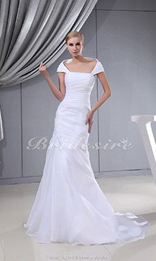 Trumpet/Mermaid Off-the-shoulder Sweep Train Sleeveless Organza Wedding Dress