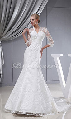 Trumpet/Mermaid V-neck Sweep Train 3/4 Length Sleeve Lace Wedding Dress