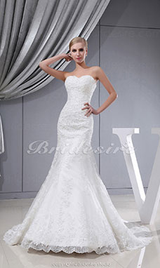 Trumpet/Mermaid Sweetheart Sweep Train Sleeveless Lace Wedding Dress
