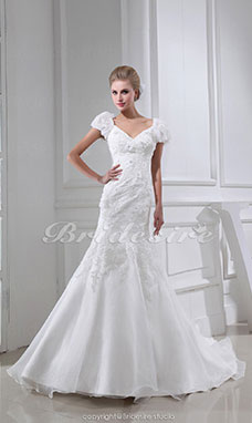 Trumpet/Mermaid V-neck Sweep Train Short Sleeve Organza Wedding Dress
