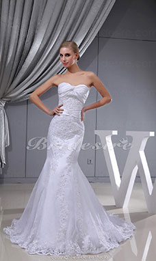Trumpet/Mermaid Strapless Sweep Train Sleeveless Lace Satin Wedding Dress
