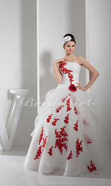 Ball Gown Strapless Floor-length Sleeveless Organza Wedding Dress