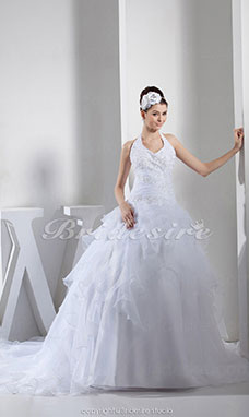 Ball Gown Halter Chapel Train Sleeveless Organza Wedding Dress