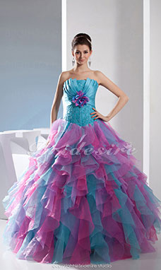 Ball Gown Strapless Floor-length Sleeveless Organza Satin Dress