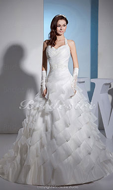 A-line Halter Chapel Train Sleeveless Organza Wedding Dress