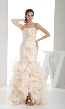 Trumpet/Mermaid Strapless Floor-length Sleeveless Organza Wedding Dress
