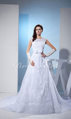 A-line Bateau Chapel Train Sleeveless Lace Wedding Dress