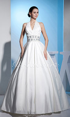 Ball Gown Halter Floor-length Sleeveless Satin Wedding Dress