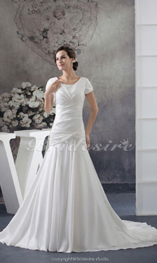 A-line Scoop Court Train Short Sleeve Satin Wedding Dress