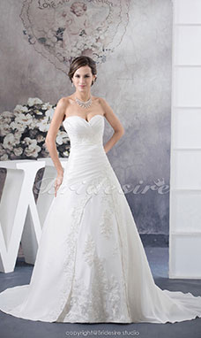 Ball Gown Sweetheart Court Train Sleeveless Taffeta Wedding Dress