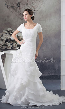 Trumpet/Mermaid Square Court Train Short Sleeve Organza Wedding Dress