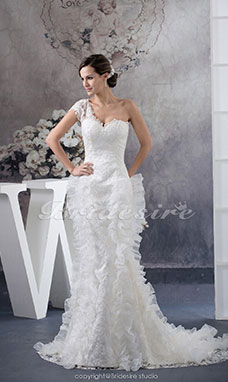 Trumpet/Mermaid One Shoulder Sweep Train Sleeveless Lace Organza Wedding Dress