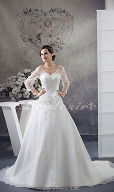 A-line V-neck Chapel Train Long Sleeve Organza Wedding Dress