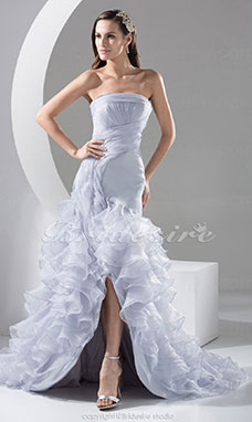 A-line Strapless Sweep Train Sleeveless Organza Dress