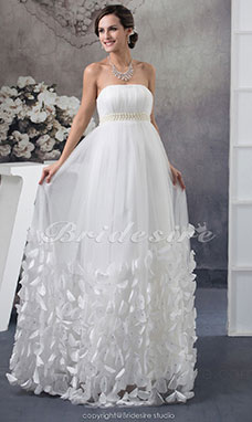 Sheath/Column Strapless Floor-length Sleeveless Tulle Wedding Dress