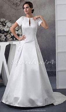 Ball Gown Scoop Sweep Train Short Sleeve Satin Wedding Dress