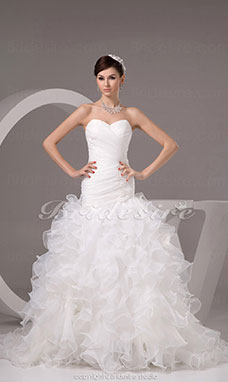 Trumpet/Mermaid Sweetheart Sweep Train Sleeveless Organza Wedding Dress