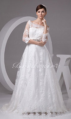 A-line Bateau Sweep Train 3/4 Length Sleeve Lace Wedding Dress