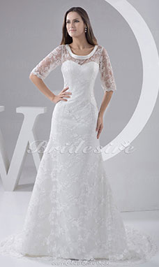 A-line Scoop Court Train Half Sleeve Lace Wedding Dress
