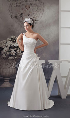 A-line One Shoulder Court Train Sleeveless Satin Wedding Dress