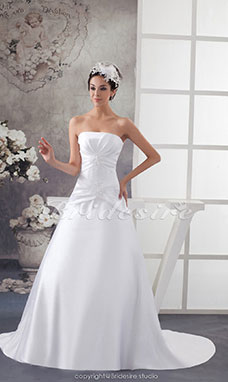 Ball Gown Strapless Court Train Sleeveless Satin Wedding Dress