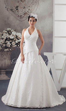 Ball Gown Halter Sweep Train Sleeveless Lace Wedding Dress