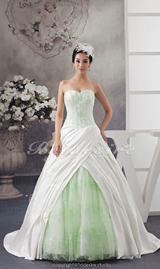 Ball Gown Sweetheart Court Train Sleeveless Satin Tulle Wedding Dress