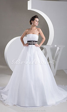Ball Gown Strapless Court Train Sleeveless Organza Wedding Dress