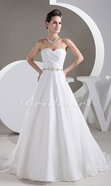 A-line Sweetheart Court Train Sleeveless Organza Wedding Dress