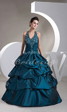 Ball Gown Halter Floor-length Sleeveless Taffeta Dress