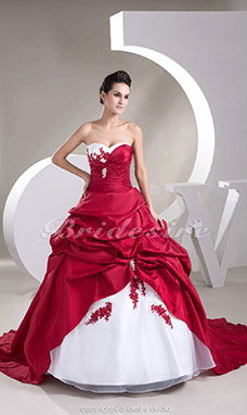 Ball Gown Sweetheart Chapel Train Sleeveless Taffeta Organza Wedding Dress