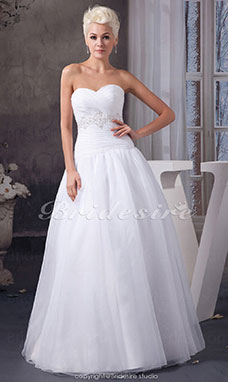 Ball Gown Sweetheart Floor-length Sleeveless Organza Wedding Dress