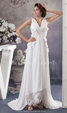 A-line V-neck Court Train Sleeveless Chiffon Wedding Dress