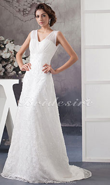 A-line V-neck Court Train Sleeveless Chiffon Lace Wedding Dress