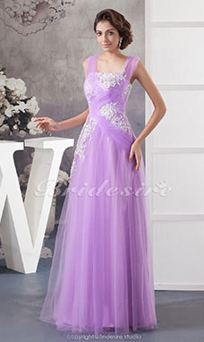 Sheath/Column Straps Floor-length Sleeveless Tulle Dress