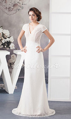 Sheath/Column V-neck Floor-length Short Sleeve Lace Wedding Dress