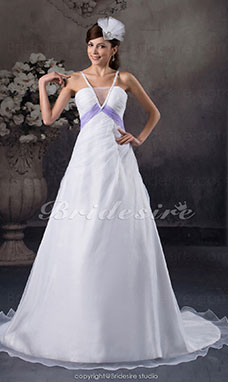 A-line Spaghetti Straps Court Train Sleeveless Organza Wedding Dress