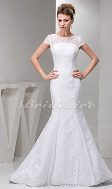 A-line Scoop Court Train Short Sleeve Lace Wedding Dress