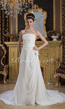 Sheath/Column Strapless Floor-length Court Train Sleeveless Chiffon Wedding Dress